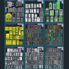 Autocad DWG file of doors, windows, Decorative hardware and stained glass designs. A collection of various door and windows designs as an Autocad file. Window Design, Door Design, House Design, Exterior Doors, Interior And Exterior, Hotel Floor Plan, Civil Engineering Construction, Cad Blocks, Stained Glass Designs
