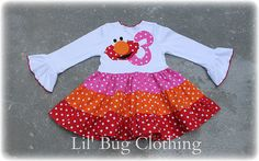 Custom Boutique Pink Orange Pink and Red Elmo Tiered Birthday Dress on Etsy, $45.00