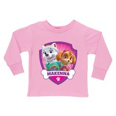Paw Patrol Pretty Pups Pink Long Sleeve Tee - T-Shirts - Clothing | Tv's Toy Box