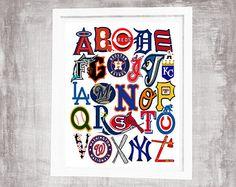 4a487daac5e LA DODGERS baseball ABC Nursery Art Print by AreaFareKids on Etsy
