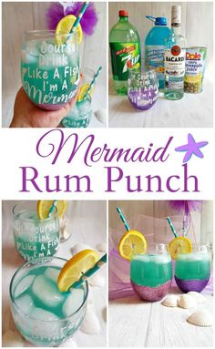 you are looking for the perfect cocktail for those hot summer nights, look no further! Mermaid Rum Punch is sweet & refreshing. It can also be made as a mocktail for the kids too! You will be the hit of the party when you serve this one up. Rum Cocktails, Beste Cocktails, Summer Cocktails, Cocktail Drinks, Drinks With Bacardi Rum, Cocktail Recipes, Coconut Rum Drinks, Refreshing Cocktails, Party Drinks Alcohol