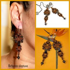 Brown macrame earrings with Hematite stone beads <3