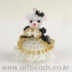 Beaded Teddy in dress with pattern