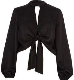 12036ae071736 Black satin tie front long sleeve crop top - Crop Tops   Bralettes - Tops -  women