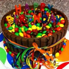 Fun w/Candy Birthday Cake. Yes, there is a cake in there! by cheri