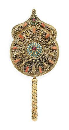A Turkish Gold Gilt Copper Coral Inset Filigriee Mirror 19 th Century Safranbolu