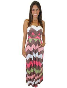 Multicolor Chevron Maxi Dress with Pockets – Judy