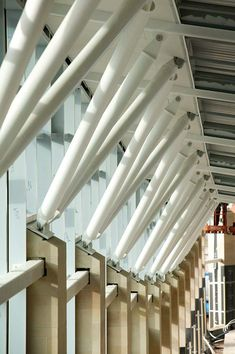 Mansfield's new bus station, which links into the adjacent railway station, features an array of bespoke feature steel columns and connections. The former Nottinghamshire mining town of Mansfield h...