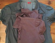 Lot of two puffed short sleeve blouses, cotton, S. Esprit, R W.and co.