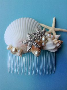 Hey, I found this really awesome Etsy listing at https://www.etsy.com/listing/240850889/seashell-starfish-hair-comb-destination