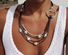 women necklace with brown  genuine leather with silver by kekugi