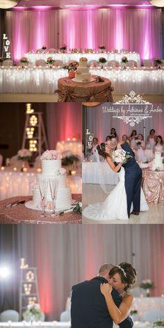 Royal Oak Wedding Photographers / Weddings by Adrienne & Amber #royaloak #weddings #photography #weddingsbyaa #detroit #royaloak #bride #groom #reception #pink #LOVE #firstdance #kiss #truelove #headtable #uplighting