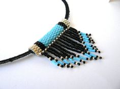 Turquoise Native American Beadwork Necklace Boho Fringed Southwestern Jewelry Bead Weaving on Etsy, $22.06 CAD