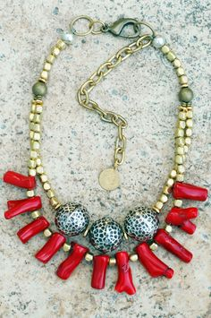 Must-Have Holiday Necklace! Hammered Silver, Brass and Vivid Red Coral Branch Necklace