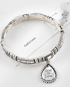 Checkout this amazing deal New Antique Silver Tone 'God Is Love' Charm Bracelet,$10.95