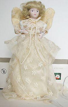 Angel Tree Topper Vintage Christmas Electric Porcelain Head In Original Box