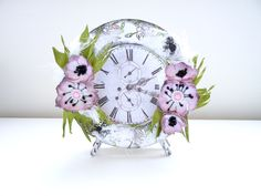 Handmade clock with foamiran flowers Handmade Clocks, Flowers, Cards, Maps, Royal Icing Flowers, Playing Cards, Flower, Florals, Bloemen