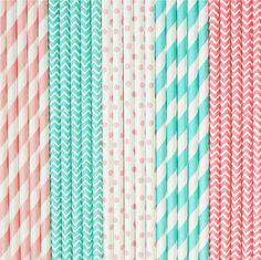 25 Vintage Shabby Chic Paper Straws, Robin Egg and Light Pink, Drinking Straws, Vintage Baby shower, Little girl birthday, Cake Pops