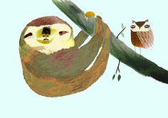 Sloth and Owl. Childrens illustration, digital print.