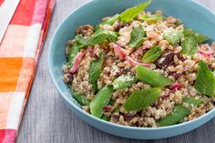 Sugar Snap Pea & Farro Salad with Pickled Onion & Kalamata Olives. Visit https://www.blueapron.com/ to receive the ingredients.