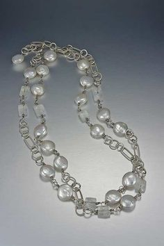 coin pearls, moonstone and sterling silver necklace