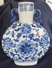 Chinese blue & blanc porcelaine moonflask vase marqué 10 pouces