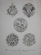 """middle ages & rennaissance monogrammes french 19th century engraving 12 x 17"""" $110"""