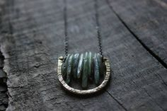 bohemian rustic Raw moss green Kyanite pendant necklace,tribal hammered brass arc necklace,long Geometric necklace gold,boho hippie jewelry