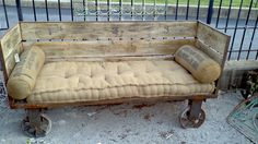 Industrial Rail Cart Couch Indoor/Outdoor by AntiqueModern on Etsy. $1,450.00, via Etsy.