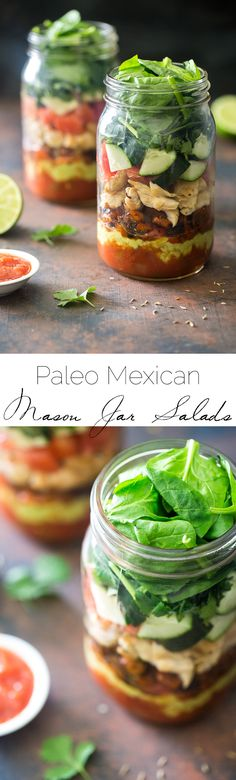 Healthy Taco Salad Recipe - Low carb, gluten free and Paleo friendly! It's served in a mason jar for a portable, easy lunch, that wont get soggy! |