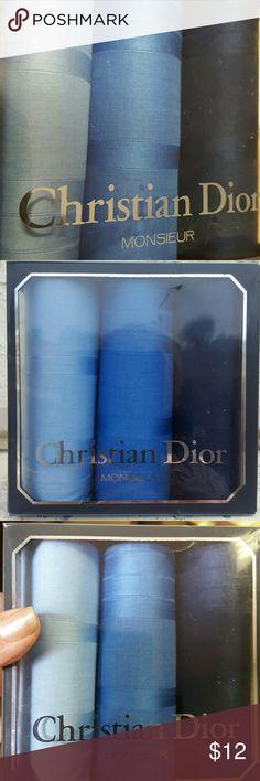 Christian Dior Mens Handkerchief Trio Blues Brand new in the box 100% cotton handkerchiefs in shades of blue. Christian Dior Accessories