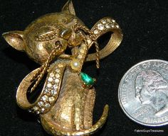 Rare Antique Jeanne Mod 60s Cat Pin Full by FabricGuysTreasures, $29.99