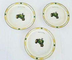 Gibson John Deere Salad Lunch Plates Set of 3  Amber Fields Diesel Tractor Farm