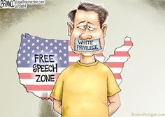 White Privilege ; an effort to silence people the left don't agree with. A.k.a, reverse racism. cartoon by A.F.Branco ©2014
