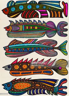 'Untitled, by Mario De Biasi, from the ''Fishes'' series, 20th Century, drawing Private collection. Whole artwork view. The drawing represents five multicoloured fishes seen in a profile, oriented towards the same direction; they all have different shapes and imaginative decorations. (Photo by Mario De Biasi/Mondadori Portfolio via Getty Images)'