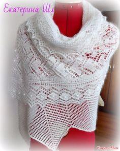 """Палантин """"Сердечки"""". Белый шарф с каймой + описание."""