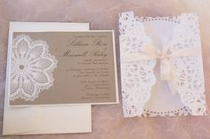 SALE  vintage wedding invitation  Lace doily and by anistadesigns, $12.75