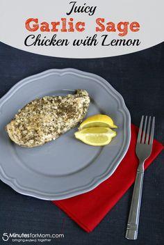 Juicy Garlic Sage Chicken with Lemon by Busy Mom's Helper for 5MinutesforMom.com #chicken #easyrecipes