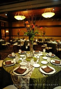 Reception ideas by color brown weddings and wedding greenbrown wedding table linens linens look better with patterns or texture junglespirit Gallery
