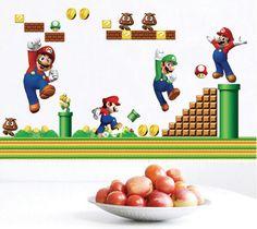 Super Mario Bros Wall Stickers Vinyl Removable Mural Home Decor Children's Room #KidsRoomdecor