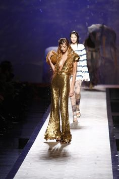 Spring/Summer 2008, gold jumpsuit with mermaid scale discs (Jean Paul Gaultier)