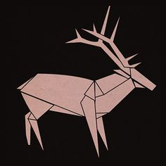 origami moose/deer/elk-- how cool would this look in fabric? Maybe as an applique, or even a stencil on a shirt... cool cool cool
