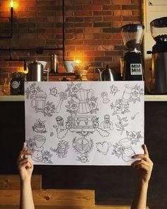 Coffee Tattoo Flash (sketch)  http://ift.tt/1U25kLY