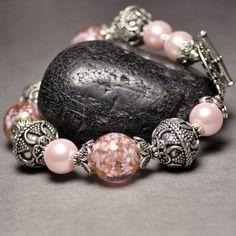 Sterling Silver Beaded Pink Bracelet