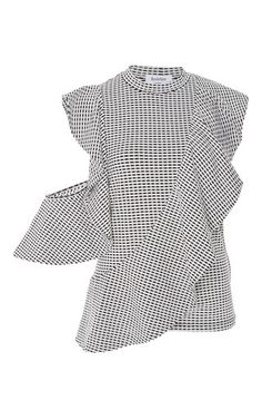This **Rodebjer** Genils Ruffled Blouse features a high neckline with a ruffled cold shoulder and allover print.