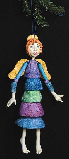 Art doll ornaments by Maureen Carlson
