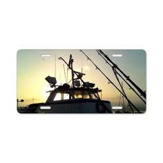 Fishing At Dawn Aluminum License Plate on CafePress.com