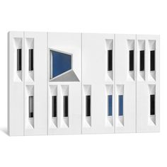 Composition in White, Black and Blue Graphic Art on Wrapped Canvas