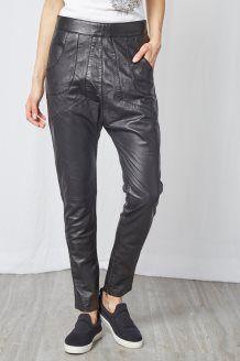 Pantaloni in Pelle d'Agnello<br>Nero