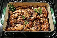 Bainbridge Island Greek Garlic Chicken. Great way to use leg quarters. Makes your kitchen smell amazing.